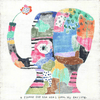 """A flower for the one I love, my darling"" with patchwork elephant"