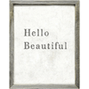 hello beautiful art print with grey wood frame
