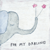 white art prints with light blue/ grey elephant holding pink flowers