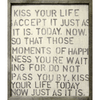 kiss your life art print, cream background with black/charcoal font