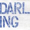 "cream art print with blue ""darling"""