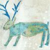 blue elk on cream background