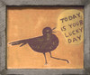 "yellow art prints with black bird and ""today is your lucky day"""