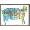 multicolored goat on a white background