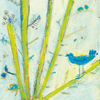 blue bird with a blue sky and green leaves