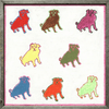 This unique are print features several pugs that are all different colors!