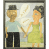 art print features two people facing each other, holding hands and talking