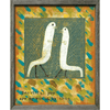 This art print features a multicolored background and two white birds.