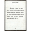 roald dahl art print - white with grey wood frame