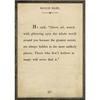 roald dahl art print - cream with grey wood frame