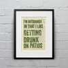 """""""i'm outdoorsy in that I like getting drunk on patios"""" poster"""