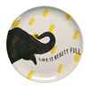 white and yellow melamine plate with black elephant