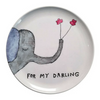 "white melamine plate with blue/grey elephant and the quote ""for my darling"""