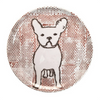 polka dot melamine plate with white frenchie