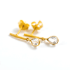 gold post earrings with crystal drop