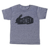 "grey t-shirt with black lettering - honey bunny, pictured with a bunny and the word ""honey"" written inside"