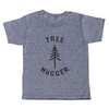 grey t-shirt with black lettering - tree hugger shirt, with a tree resembling an evergreen tree