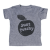 grey t-shirt with black lettering - just peach written in the middle of a peach