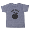 "grey t-shirt with black lettering - georgia peach, but instead of the word ""peach"" it's the shape of a peach"