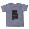 "grey t-shirt with black lettering - state of alabama with ""homegrown"" written in the middle"