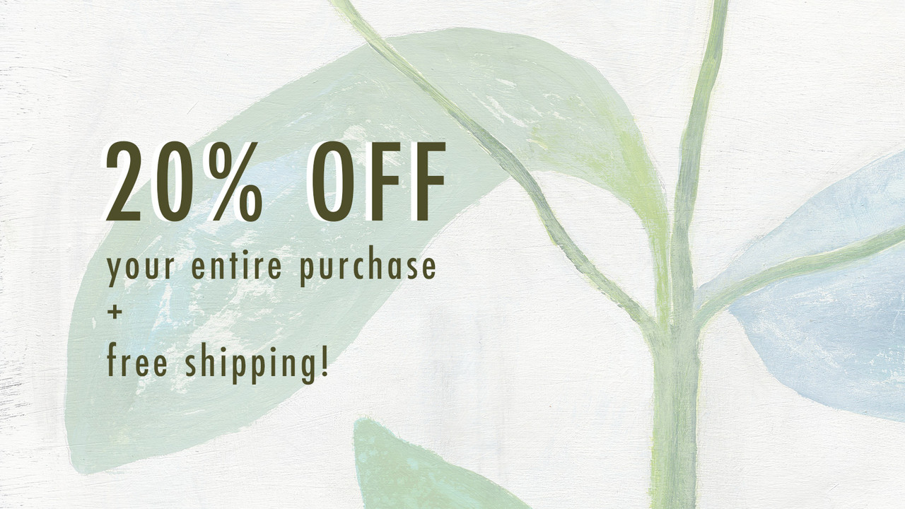 20% off entire purchase + free shipping
