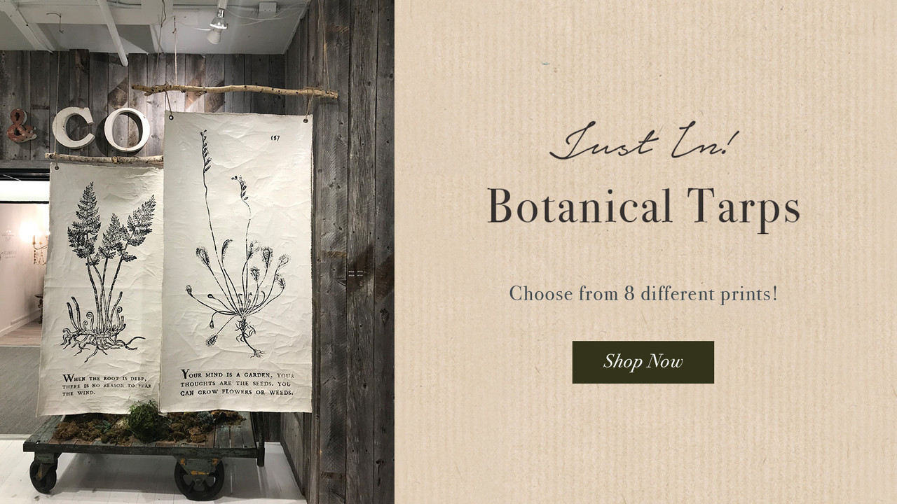 Just in! Botanical Tarps! 8 different designs - shop now!