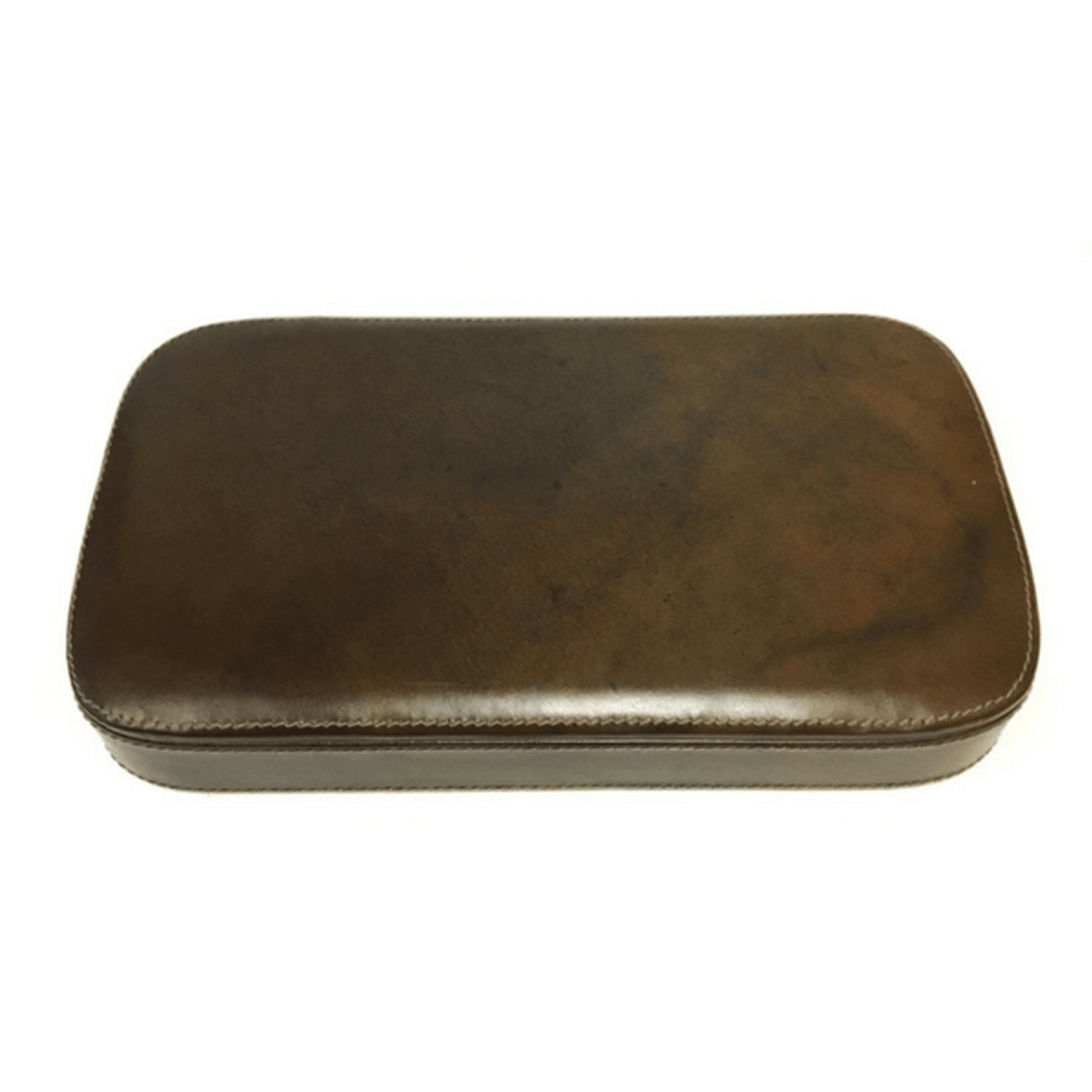 closed brown leather jewelry box