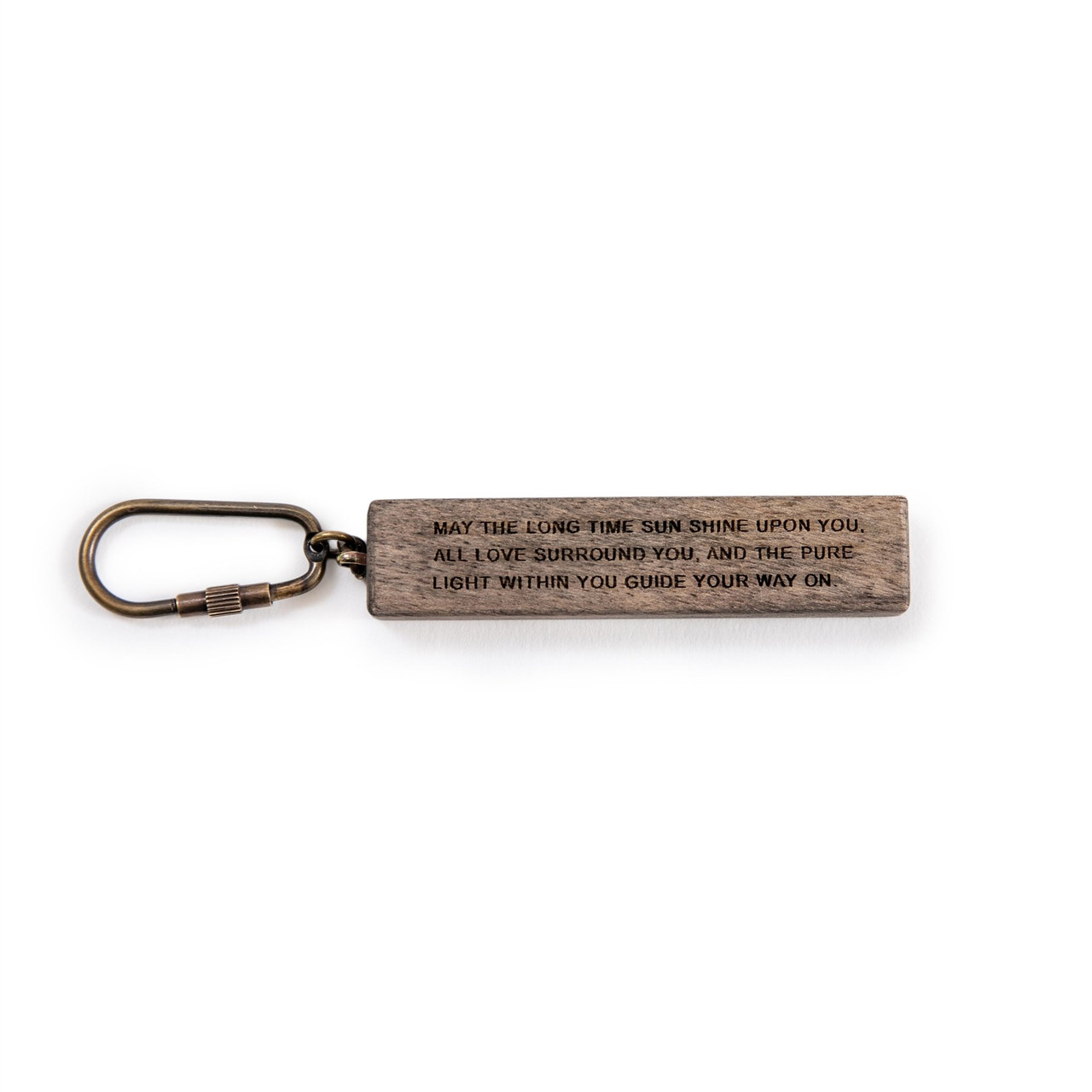 """wood keychain with the quote """"may the long time sun shine..."""" (full quote in description)"""