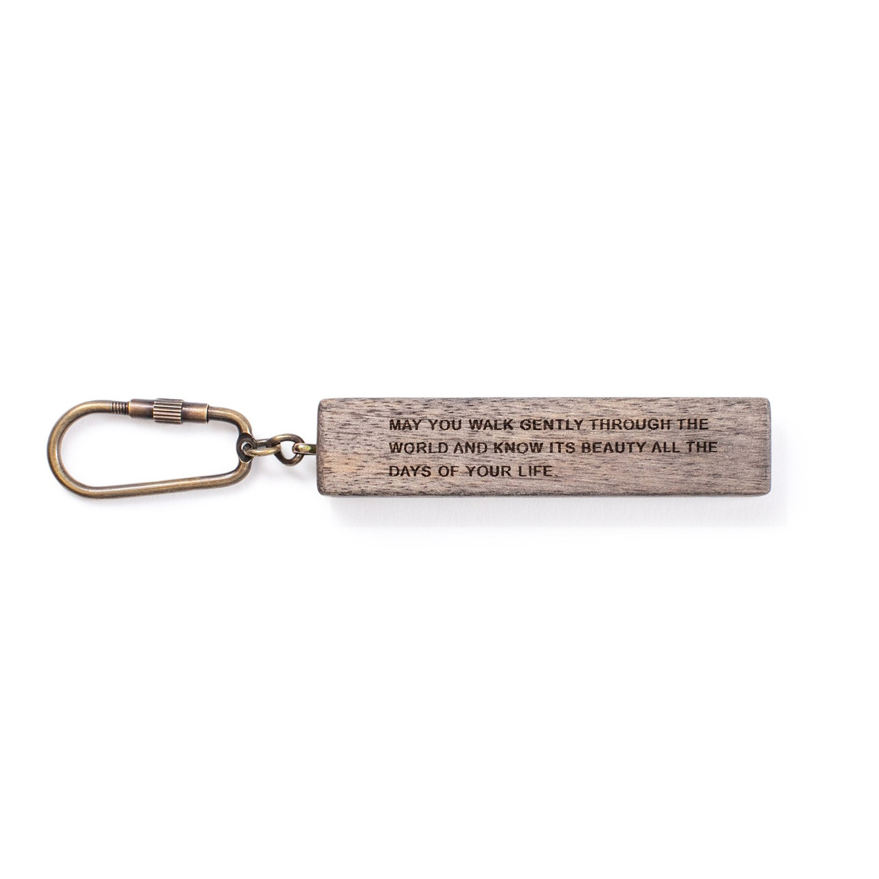 """wood keychain with the quote """"may you walk gently..."""" (full quote in description)"""