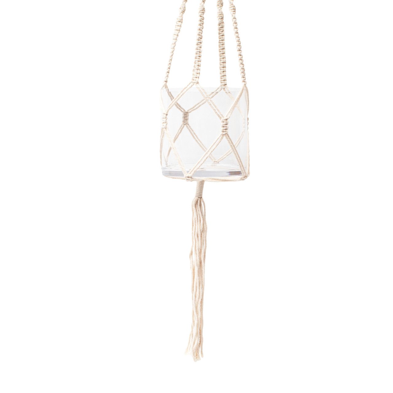 macrame hanging planter with glass vase and tassel