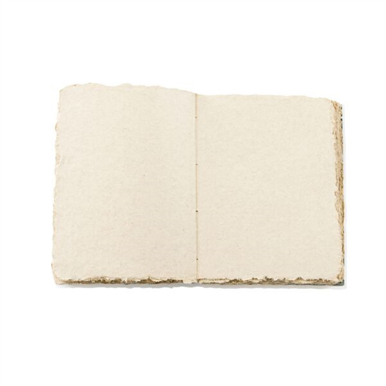 Open journal showing the handmade deckled edged paper.