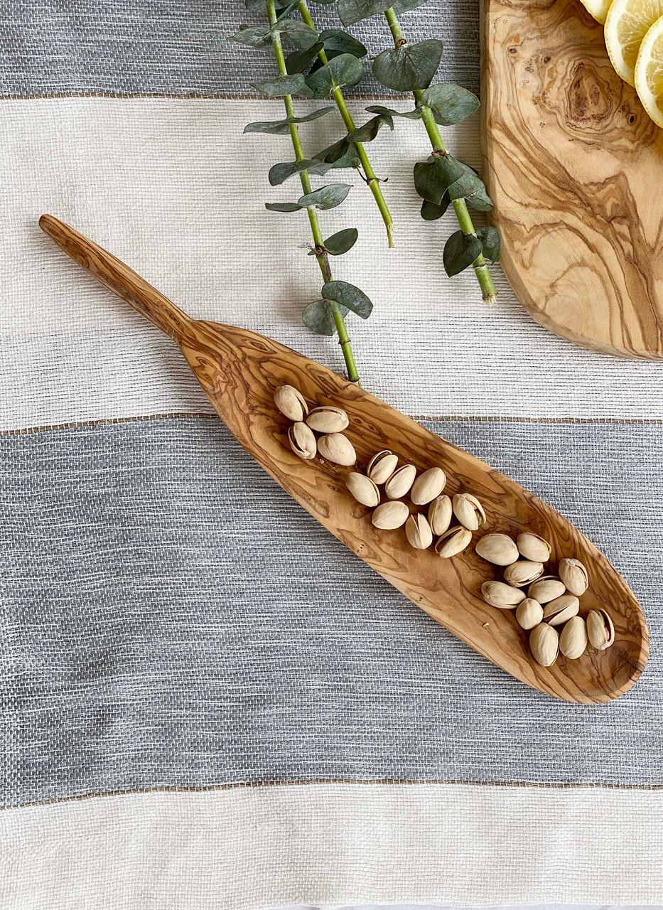 oval shaped olive wood tapas dish
