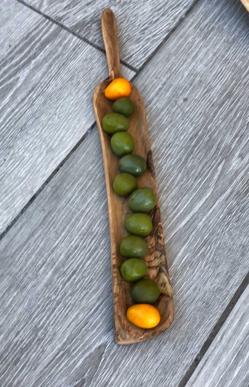 rectangular olive wood tapas dish