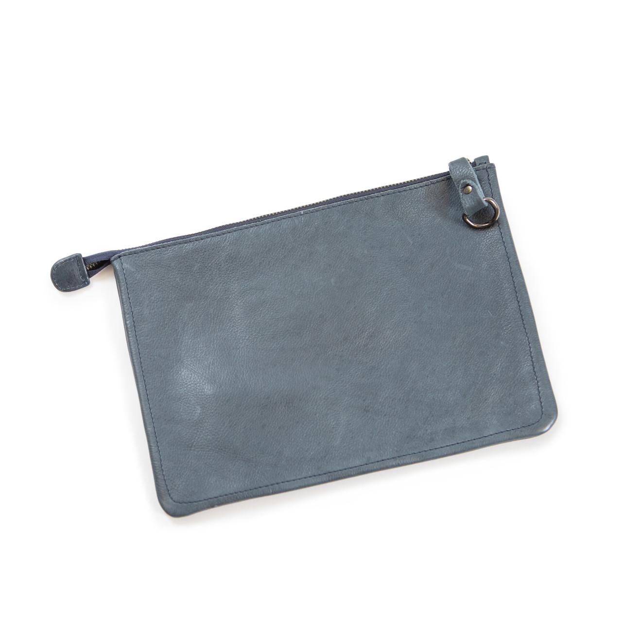 navy leather zip clutch