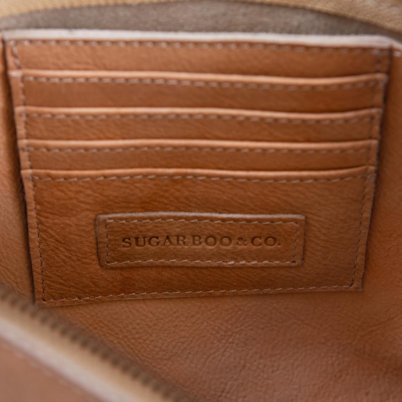blush leather zip clutch inside card holder