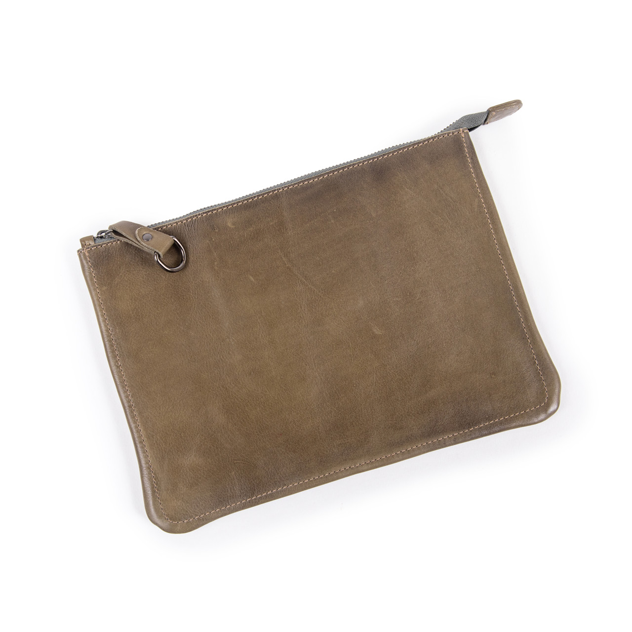 taupe leather zip clutch