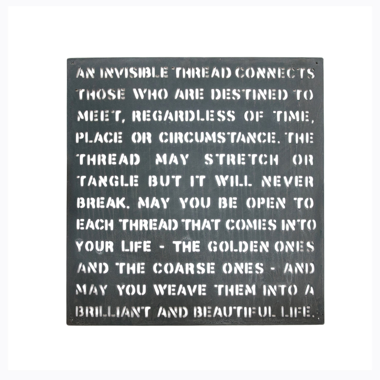 metal sign - an invisible thread
