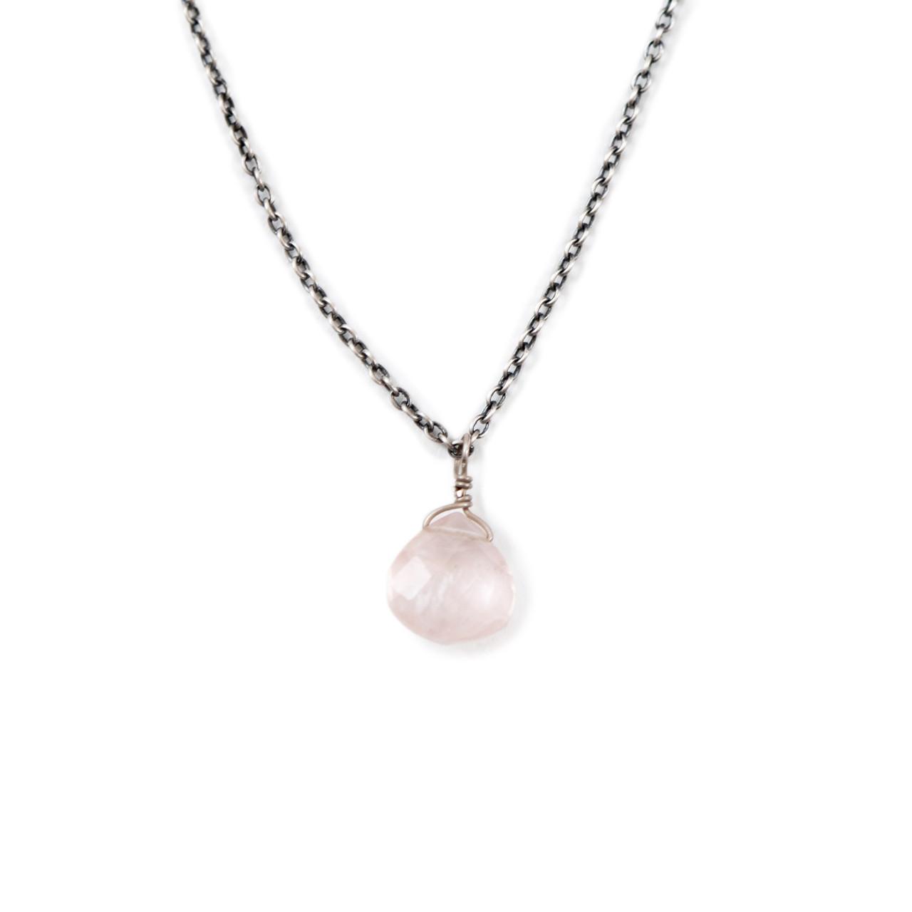 oxidized necklace with rose quartz stone