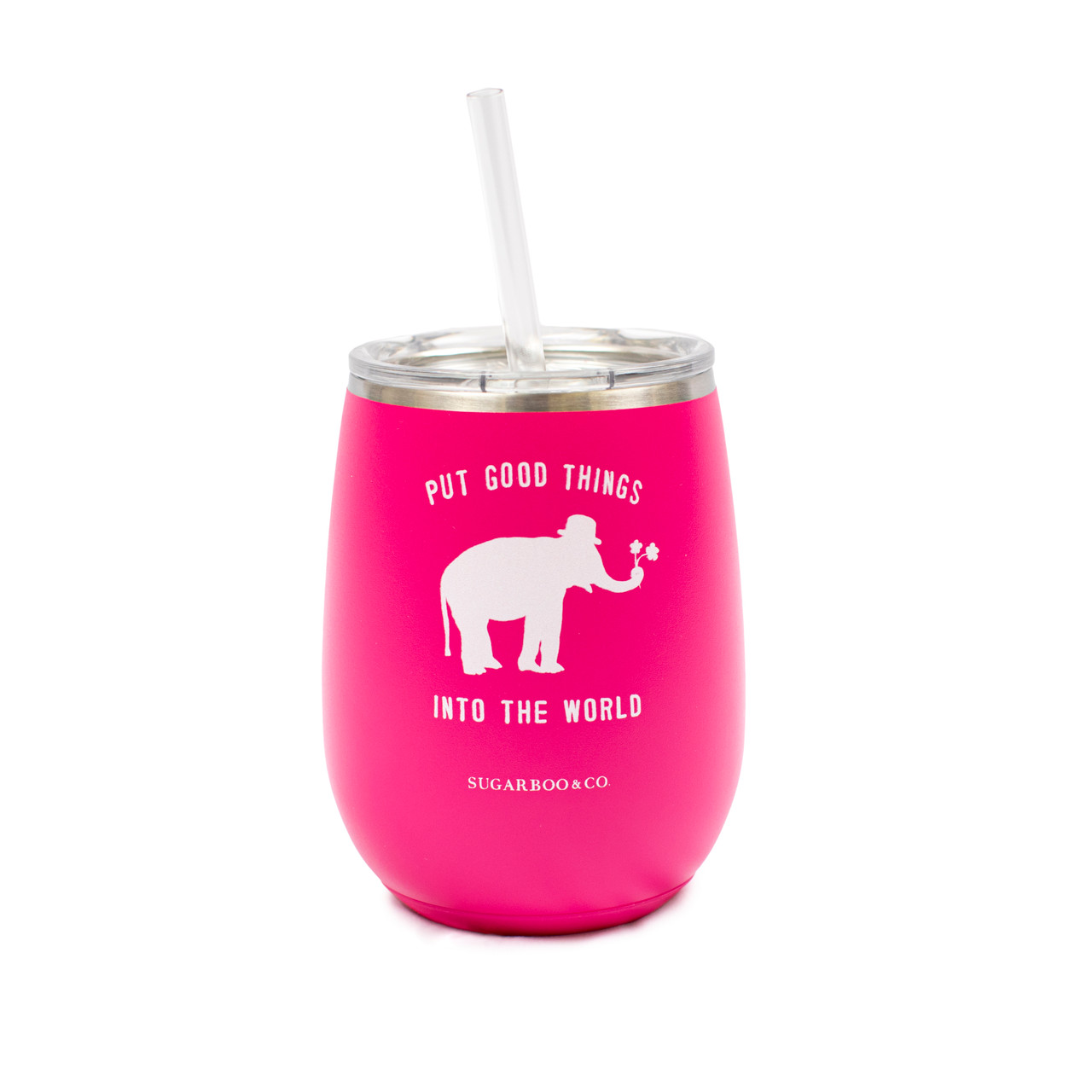 Sugarboo & Co logo on stemless wine cup in hot pink