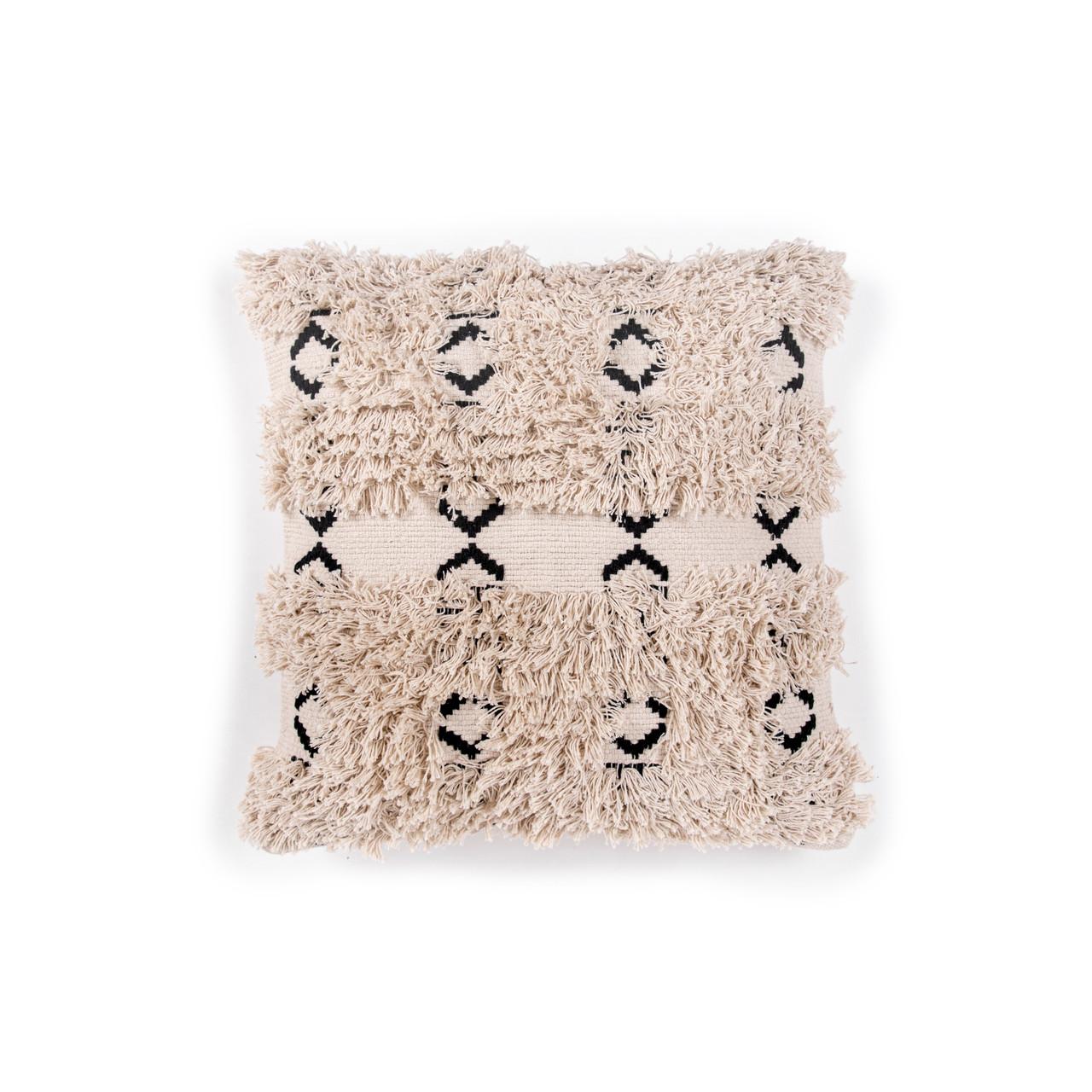 Black and Cream Ikat Fringe Pillow