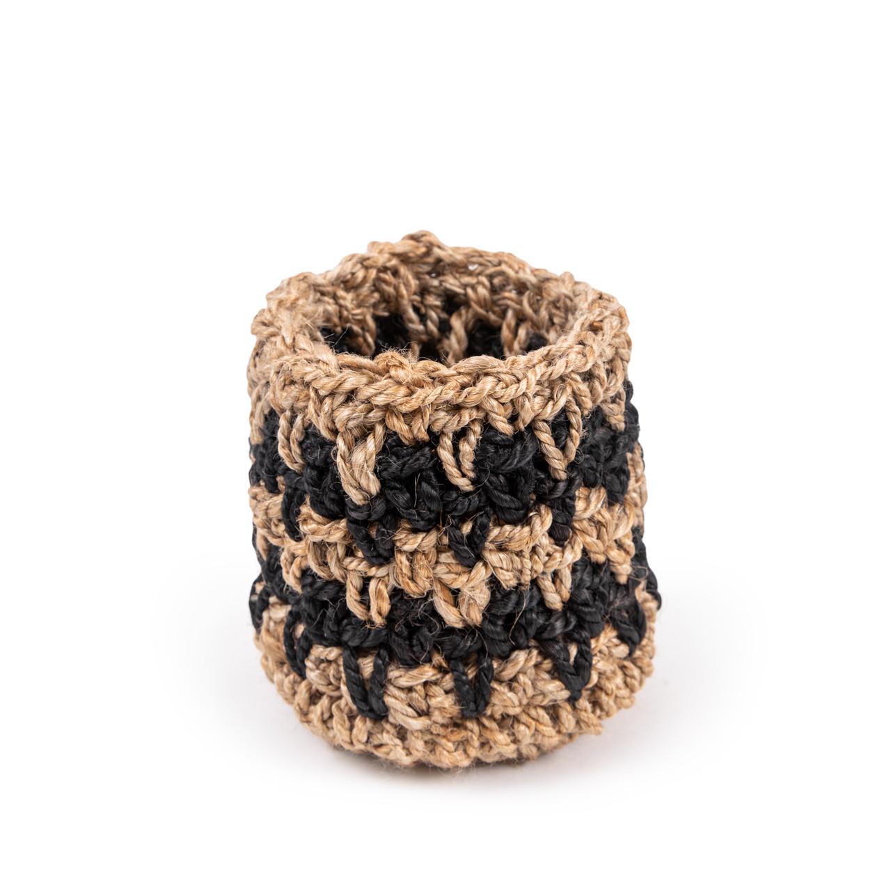Knitted Black Jute Basket - medium