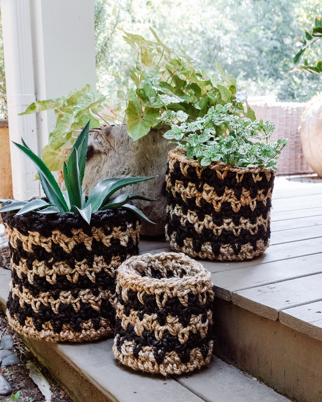 Knitted Black Jute Basket