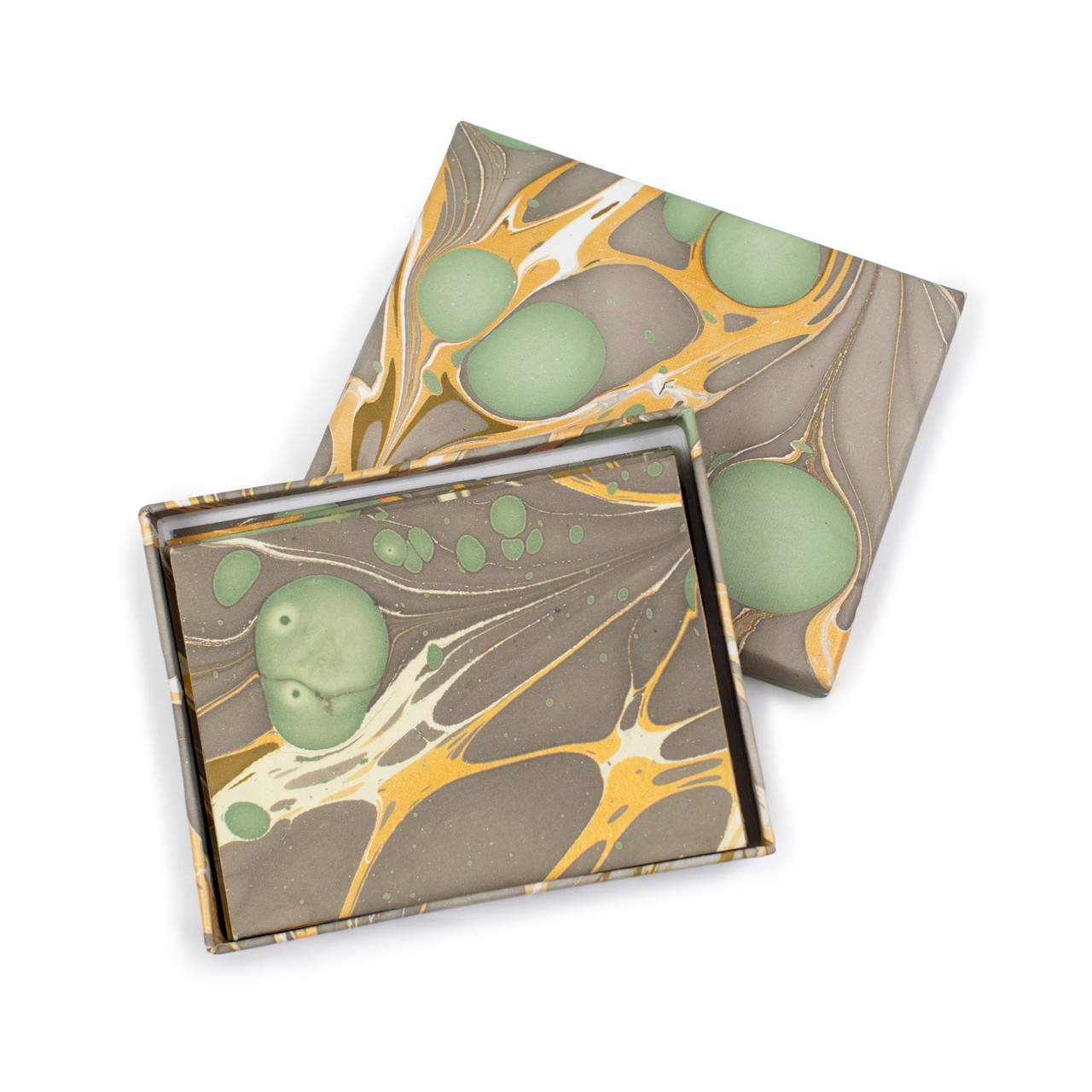 Yellow and Brown Marble Card & Envelopes
