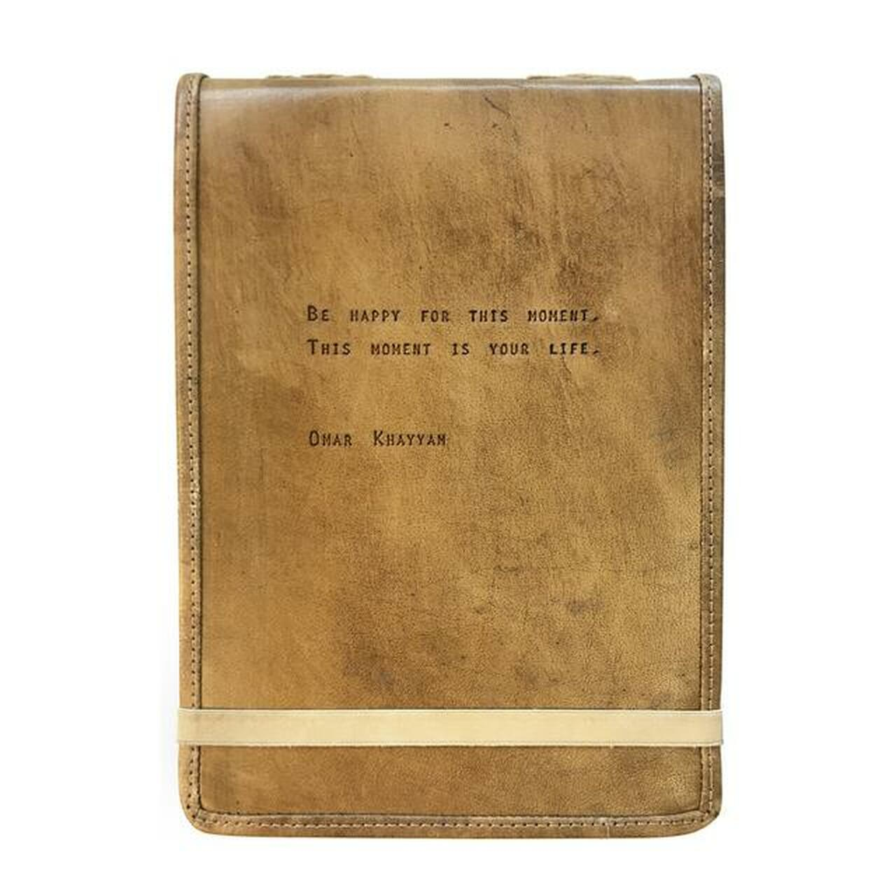 leather journal - be happy for this moment