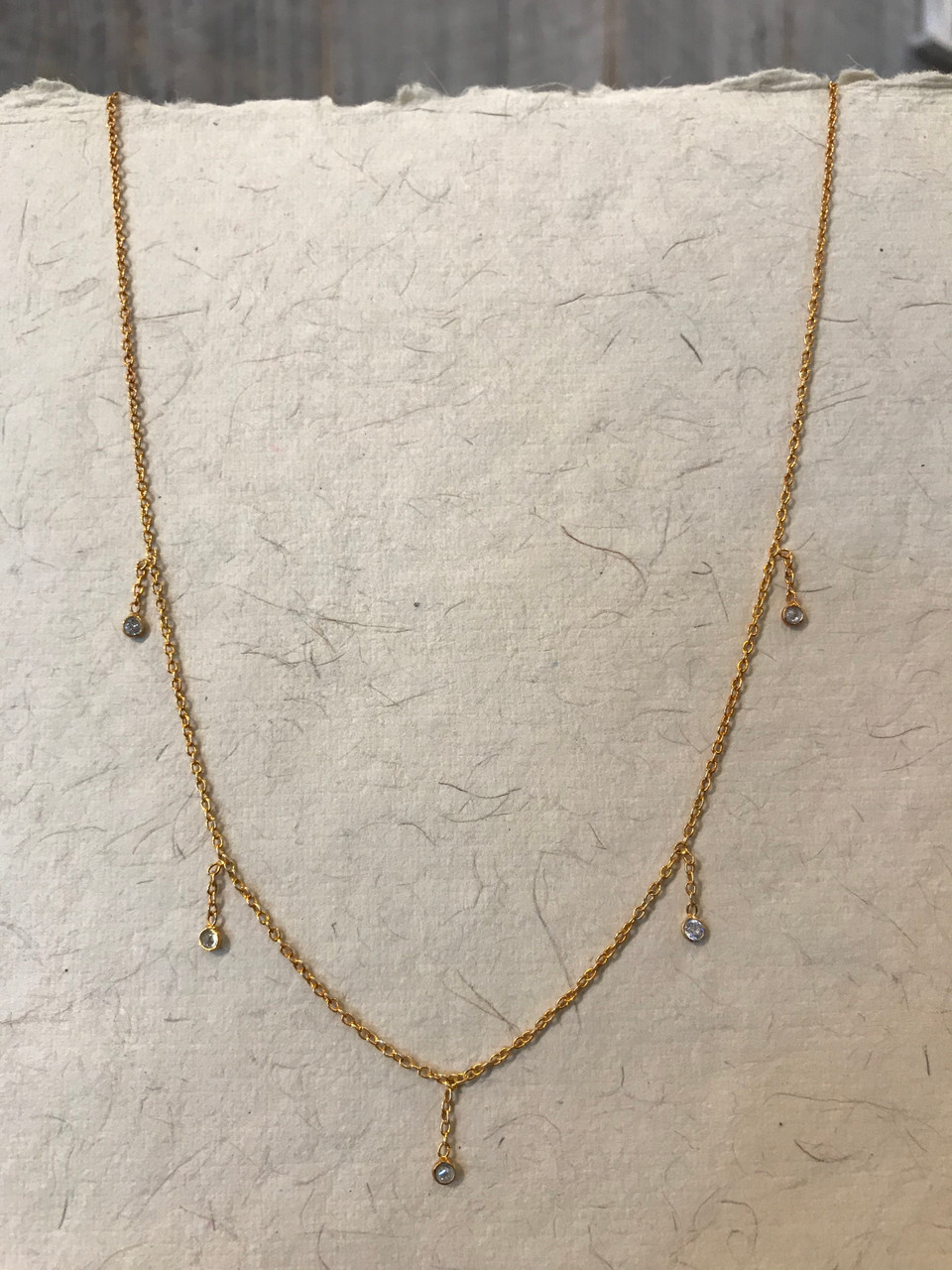 Gold Necklace with Thread Drop Stones