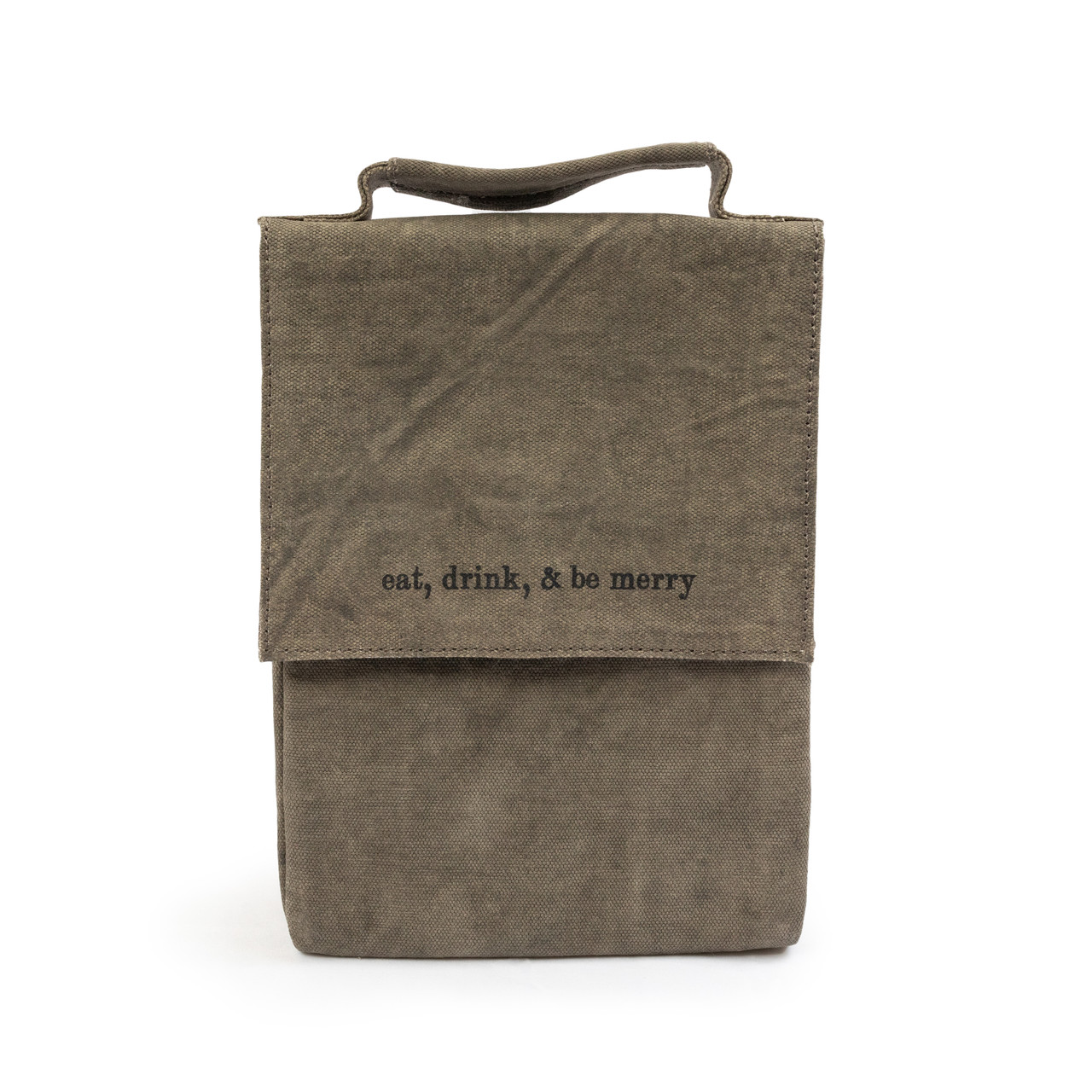 """washed canvas lunchbox  """" eat, drink & be merry"""""""