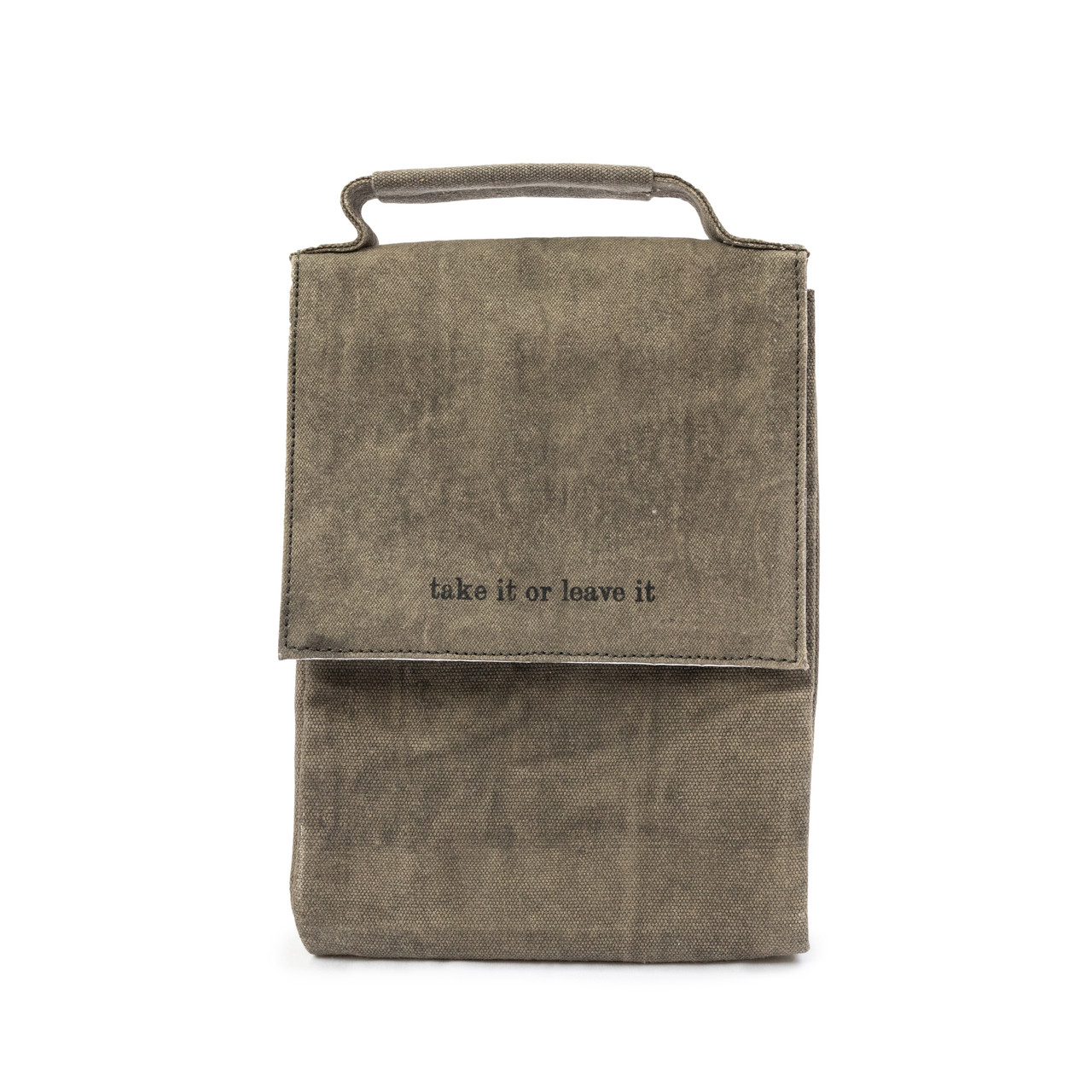 """washed canvas lunchbox """"take it or leave it"""""""