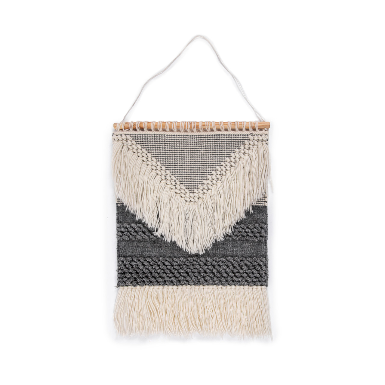 Grey and Cream Fringe Wall Tapestry #14