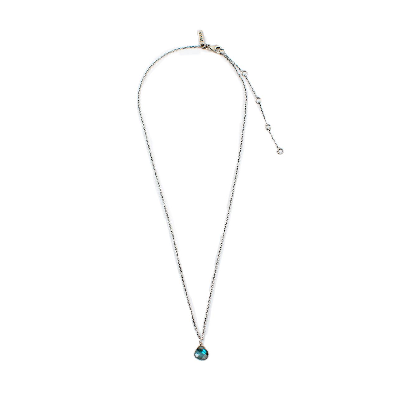Oxidized Necklace in Labradorite Single Stone