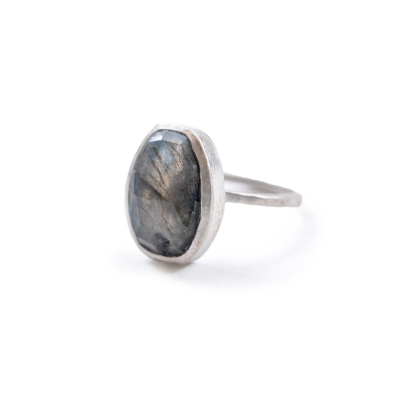 Labradorite Stone Sterling Silver Stacking Ring